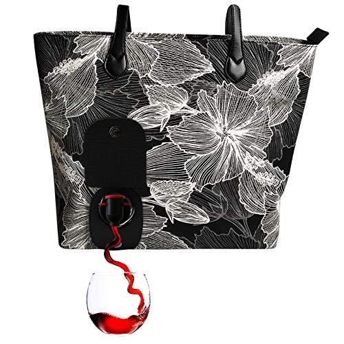PortoVino City Wine Purse (Hibiscus) - Borsa per vino alla moda con scomparto nascosto isolato, contiene 2 bottiglie di vino!