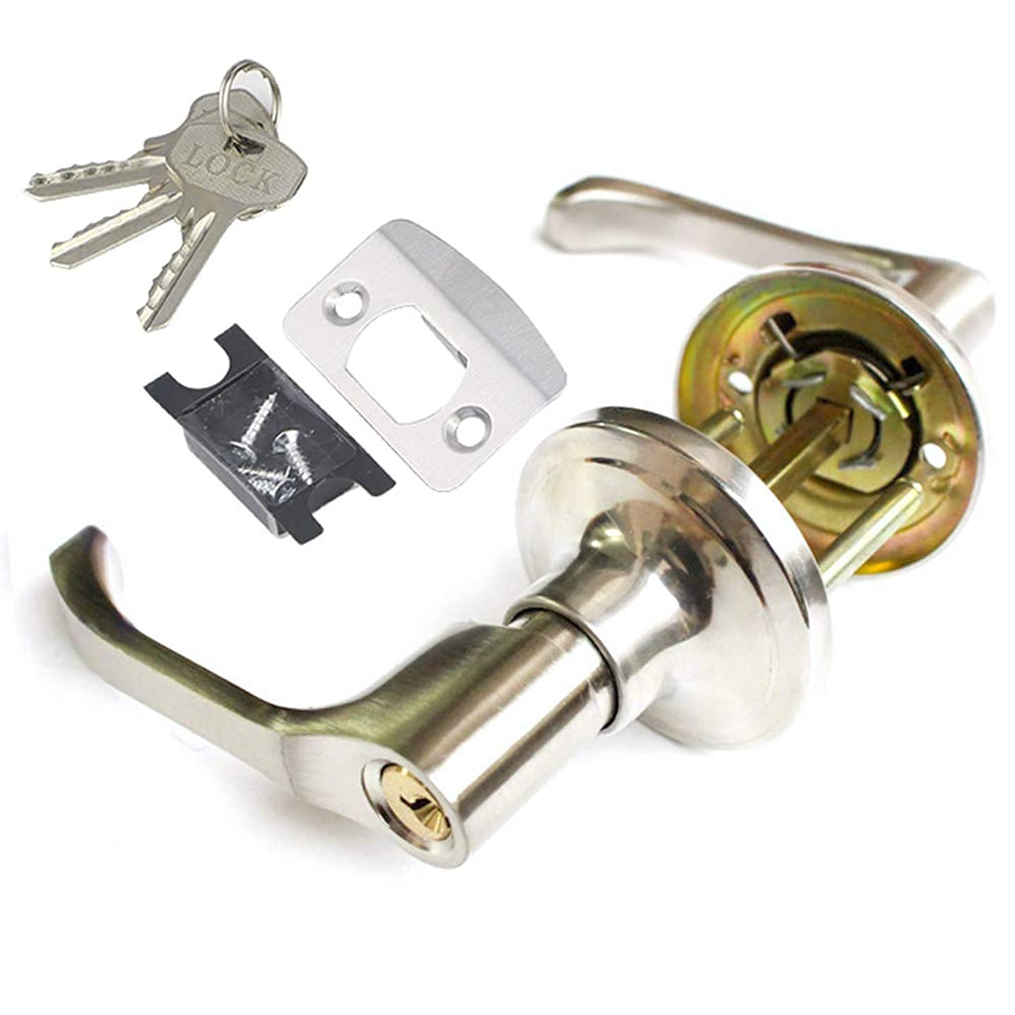 却下するスティック特別にレバー式ハンドロックは鍵が付く室内、リビングルームとキッチンに適用し、左右通用、ドア厚さ30-50mmデッドボルトは60mmあるいは70mmに調整可能