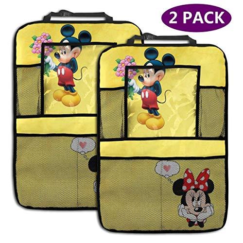 2 Pack Organisateur De Voiture Banquette Arrière - Accessoires De Voiture Minnie Love Mickey, Protecteur De Siège Arrière Kick Mats avec Support De Tablette Augmenté