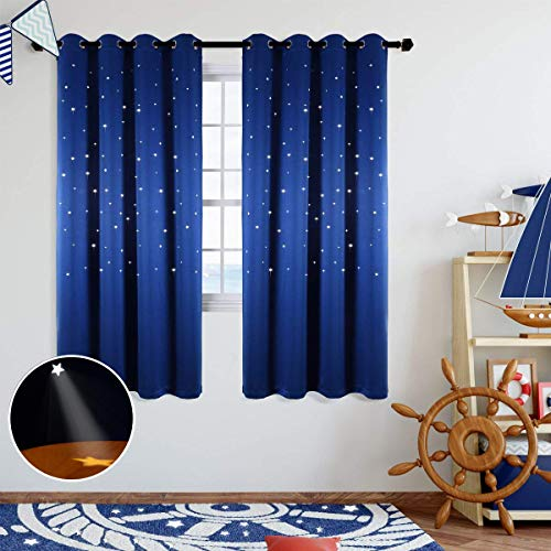 Anjee Starry Sky Blackout Curtains with Cutout Stars for Kids Room Space Themed Window Curtains Drapes for Girls Boys Bedroom Living Room Nursery Royal Blue 42 x L63 Inches