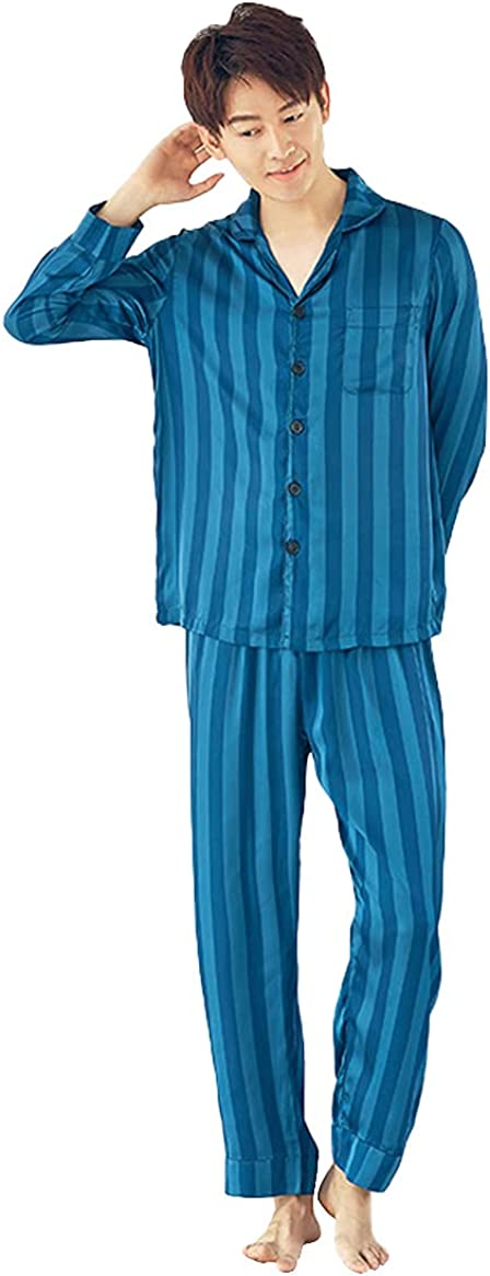 WIITON Pajama Set Men's Long Sleeved Blue Striped Polyester Spring Autumn Hotel Homewear