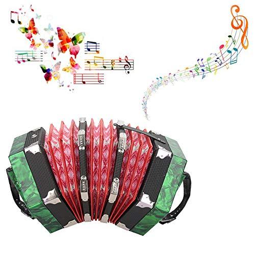 Ongoion Professionelle Konzertina, Akkordeon mit 20 Knöpfen, Musikinstrumentenzubehör(Grün)