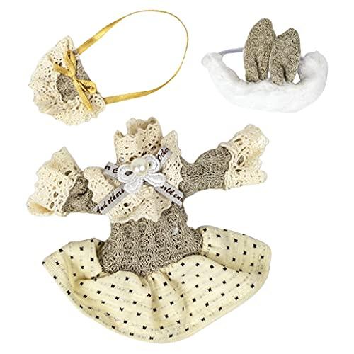 perfeclan Exquisita Ropa de muñecas Hermosas Mini Vestido de Tela Ropa de Vestir Banda para el Cabello 20 cm muñeca de niña Juguetes para niños sin muñeca - 87B