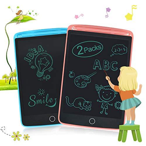 Lavagna LCD 2 Pezzi, Tavolo da Disegno da 8,5 Pollici con 4 Magneti, Blocco per Scrittura a Mano Cancellabile, Blocco Note Portatile Enotepad, Blocco per Tablet Elettronico per Bambini(Rosa+Blu)
