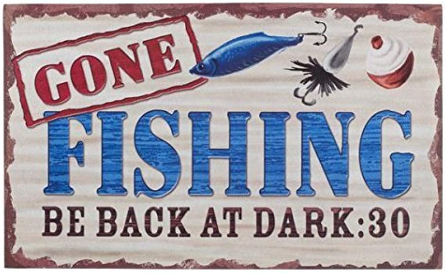 Rubber Doormat Gone Fishing Be Back At Dark By Ganz by Ganz