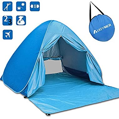 AUGYMER Beach Tent, UV Pop Up Sun Shelter Lightweight Beach Sun Shade Canopy Cabana Beach Tents Fit 2-3 Person