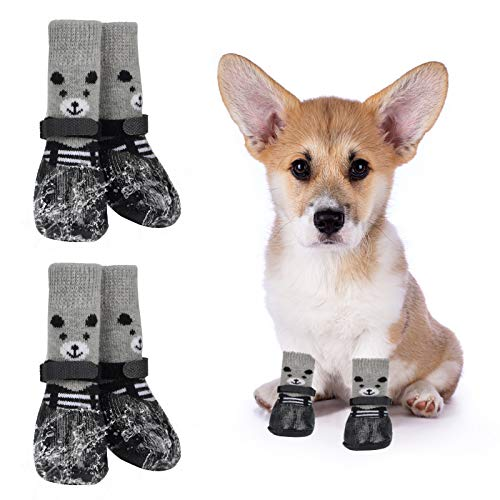 4 Pack Small Dog Socks Non Anti Slip Skid Grippers Shoes Booties 3.12X1.36X1.17Inch for Pet Dogs Cat Traction Control Grip Pads for Hardwood Floors Indoor Wear Pet Paw Protection Knit Sock Replacement