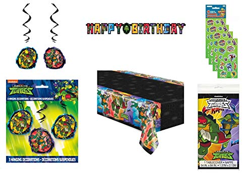 Party Bundle TMNT Teenage Mutant Ninja Turtles Birthday Party Decoration Set includes Happy Birthday Banner, Hanging Swirl Decorations, Table Cover, Stickers