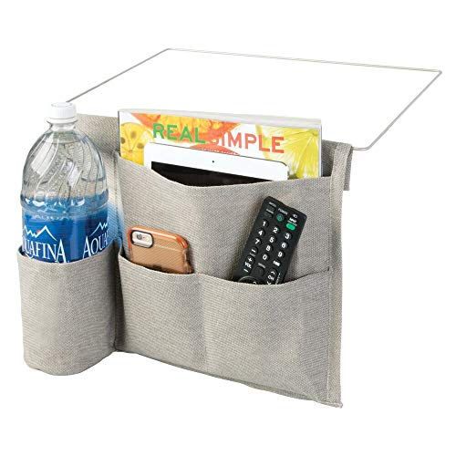 mDesign Bedside Storage Organizer Caddy - Slim Space Saving Design, 4 Pockets - Heavy Weight Cotton Canvas - Holds Water Bottles, Books, Magazines - Light Gray/Wire Insert in Satin