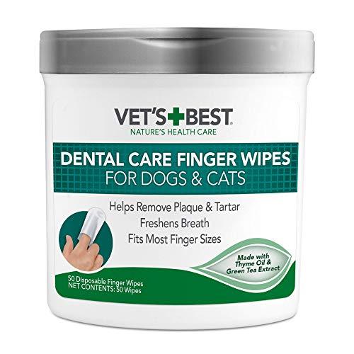 Vet's Best Dental Care Finger Wipes | Reduces Plaque & Freshens Breath...