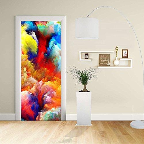 Autocollant de porte - Design- Design abstrait couleurs vives 2 - Décoration adhésive pour portes meubles maison-Print pour porte dimensions personnalisables-impression sur PVC (CM 70X200)
