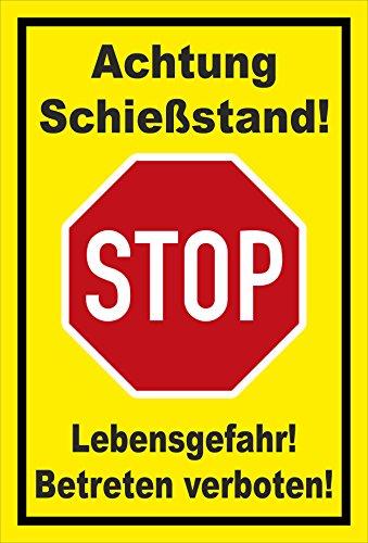 Stickers schild - Stop - Hout - Let op schietstand - Levensgevaar - Betreten verboten - S00357-012-C +++ verkrijgbaar in 20 varianten