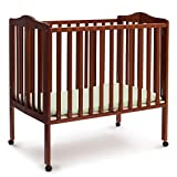 Delta Children Folding Portable Mini Baby Crib with 1.5-inch Mattress, Cherry
