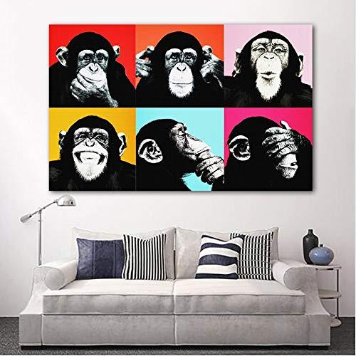 Modern Canvas Schilderij Andy Warhol Monkey Gorilla Animal Poster Schilderij Home Decor Wall Art Foto Voor Woonkamer Kinderen Kinderkamer Slaapkamer 50 * 75cm