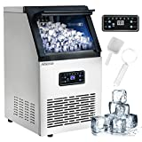 Nurxiovo Commercial Ice Machine Maker, 110LBS/24H Ice Cube Machine with 25LBS Bin, Clear Cube LED Panel, Stainless Steel Free-Standing Ice Maker Machine, Air Cooled, Include Scoop and Connection Hose