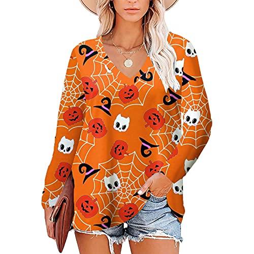 Túnicas Manga Larga para Mujer, Impresión de Halloween Camisetas, Cuello V Camisas, T Shirt Informal, Túnica Sexy Holgada, Original Casual Camisas, Clásica Tallas Grandes Polos, 2021 Tops de Otoño