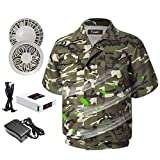 Cooling Fan Jacket Workwear Air Conditioned Jacket for Men,Women Adjustable Four-Speed Wind,Suitable for Indoor and Outdoor High-Temperature Work (X-Large, Camouflage Green)