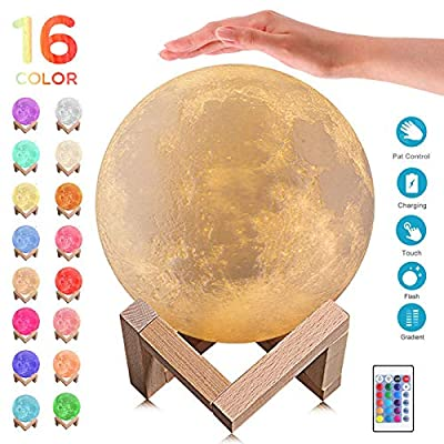 3D Moon Lamp - 16 LED Colors, LED Night Light Lunar Moon Light with Stand, Remote & Touch Control USB Rechargeable Nursery Decor for Baby Kids Birthday Part Gift