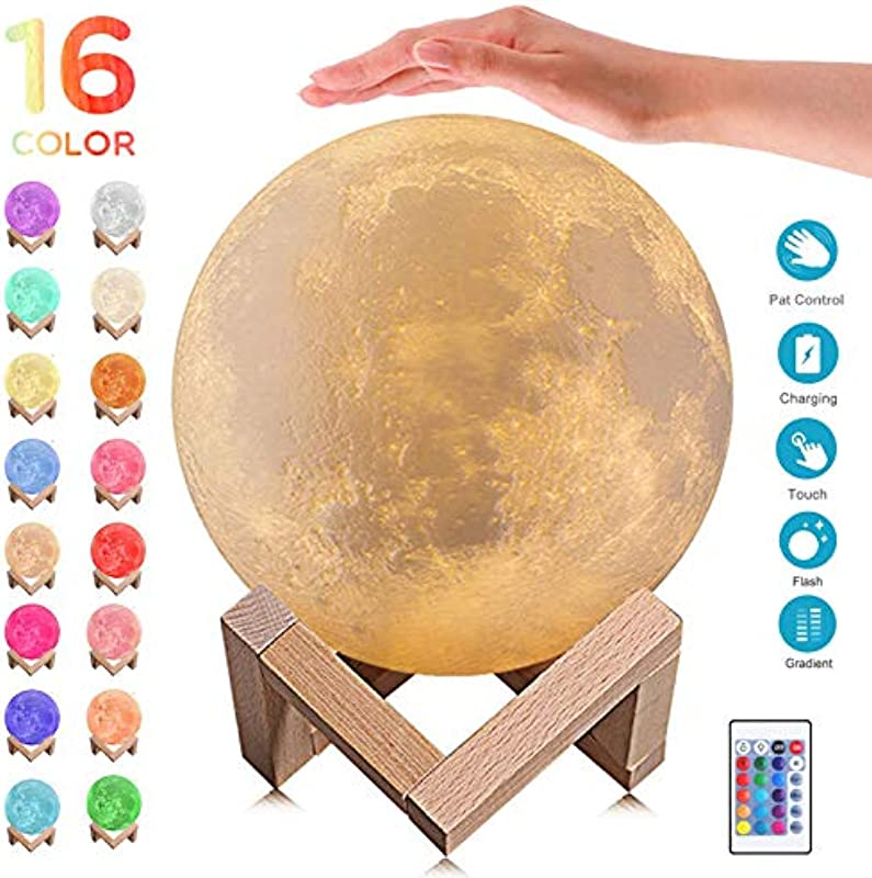 3D Moon Lamp 16 Colors LED Night Light Touch Pat Remote Control 5 9 Inch Lunar Moon Light With Stand USB Rechargeable Nursery Decor For Baby Kids Birthday Party Christmas Gift