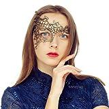 Masquerade Mask for Women Luxury Venetian Mask Women's Lace Eye Mask for Masquerade Party Prom Ball Bar Costume Festival Carnival Mardi Gras (Half Face Gold)