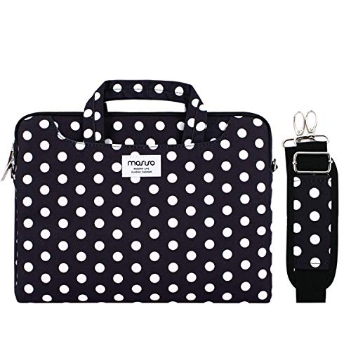 MOSISO Laptop Shoulder Bag Compatible with MacBook Pro 16 inch A2141, Compatible with MacBook Pro Retina, Notebook Canvas Pattern Briefcase Sleeve with Back Trolley Belt, Black Base White Dots