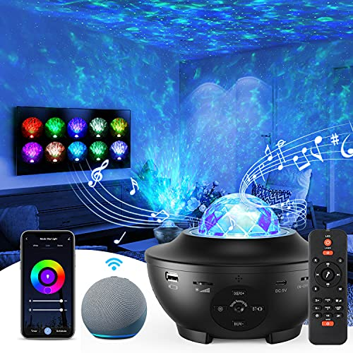 Star Projector, Galaxy Night Light Projector with Remote & Phone APP Control, Bluetooth Music Speaker & Alex Voice for Bedroom,Gaming,Party,Home Decor, Timing, Adjustable Brightness for Kids & Adults