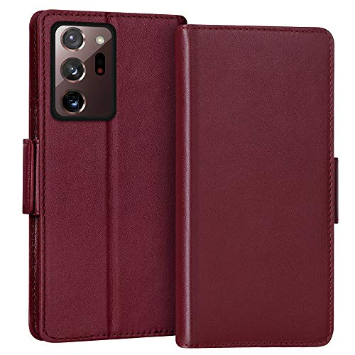 "FYY Case for Samsung Galaxy Note 20 Ultra 6.9"", Luxury [Cowhide Genuine Leather][RFID Blocking]Wallet Case,Flip Folio Case with Kickstand Function and Card Slots for Galaxy Note 20 Ultra 6.9"" Wine Red"