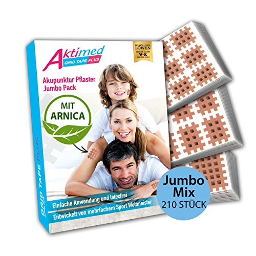 Aktimed GRID TAPE PLUS - JUMBO Mix Pack [210 Pflaster] - 2in1: Gitterpflaster mit integriertem Arnica D6 Extrakt - Tapen von Schmerz-, Akupunktur- und Triggerpunkten - Designed in Deutschland