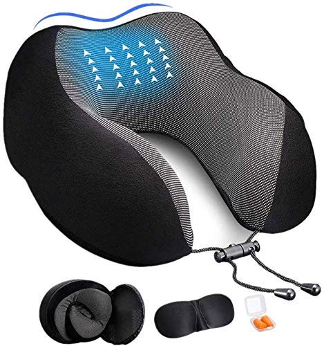 Adofys Memory Foam Travel Neck Support Rest Pillow Eye Mask, Noise Isolating Ear Plugs Portable Combo (Black)