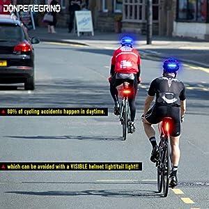 DONPEREGRINO B2-110 Lúmenes Luz Trasera Bicicleta Potente LED en Roja/Azul, Luz Bicicleta Trasera Recargable USB de Alto Brillo con 5 Modos Fijos e Intermitentes