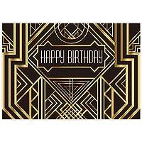 Allenjoy 7x5フィート 黒と金のキラキラ光るストライプの背景幕 大人 子供 ハッピーファーストバースデー スイート 16 パーティー 壁装飾 装飾 写真 写真 スタジオ ブース 撮影 背景