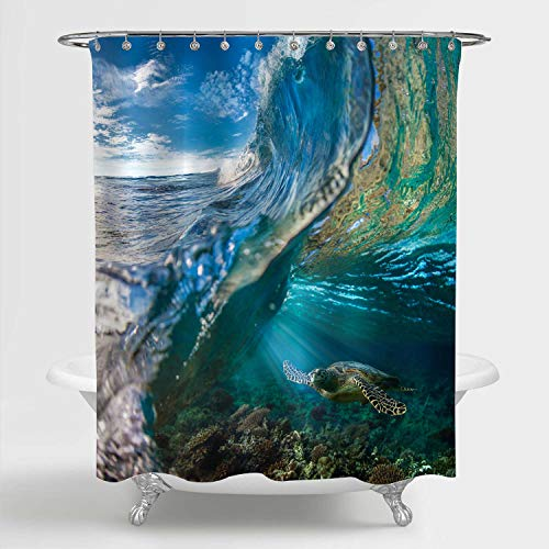 """MitoVilla Tropical Ocean Wave Scenic Shower Curtain, Sea Animal Turtle Floating Underwater Over The Coral Reef Bathroom Accessories for Summer Nature Themed Home, Grren, Blue, 72"""" W x 78"""" L Long"""
