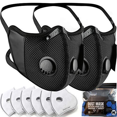 BASE CAMP M Cross Dust Face Mask 2 Pack with Extra...
