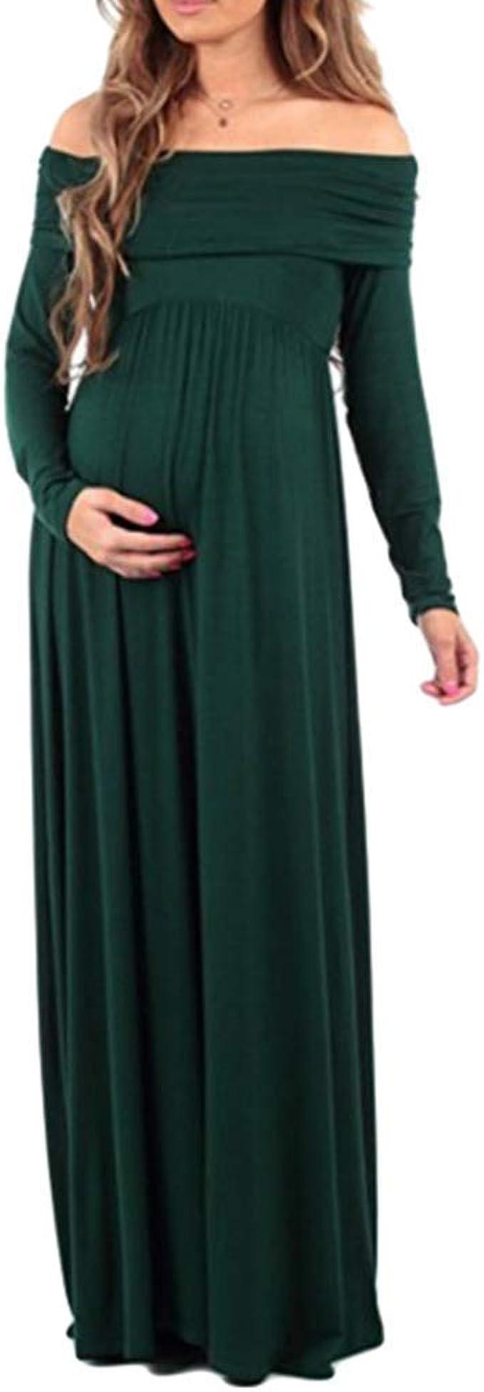 Damen Umstandskleid Fashion Vintage Langarm Maxikleid Normallacks ...