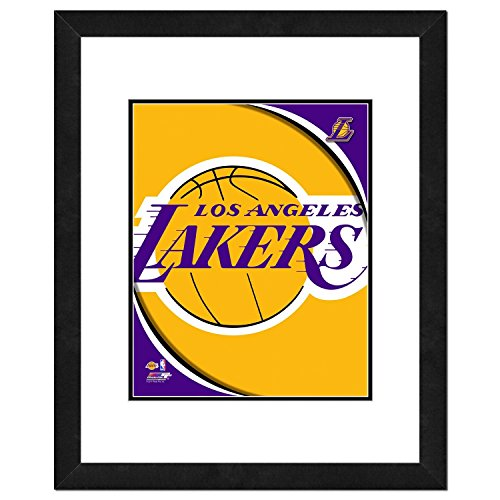 "NBA Los Angeles Lakers Team Logo Double Matted & Framed Photo, 18"" x 22"", Multicolor"