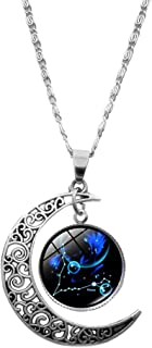 Zodiac Sign Pisces Constellation Necklace - Galaxy and Crescent Moon Pendant Necklace Time Gemstone Necklace Pisces Zodiac...