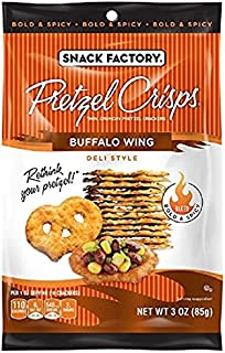 Snack Factory Pretzel Crisps, Buffalo Wing, 3 Ounce (Pack of 8)
