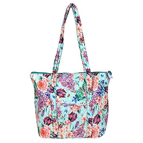 EGFAS Gesteppte Baumwolltasche Schultertasche Handtasche, Blau (Blumenblau), Medium