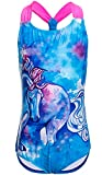 DUSISHIDAN Badeanzüge für große Mädchen, Einteiler Bikini Badeanzug,Blaues Pferd,152-164 L(12)