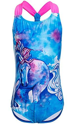 DUSISHIDAN Badeanzüge für große Mädchen, Einteiler Bikini Badeanzug,Blaues Pferd,S