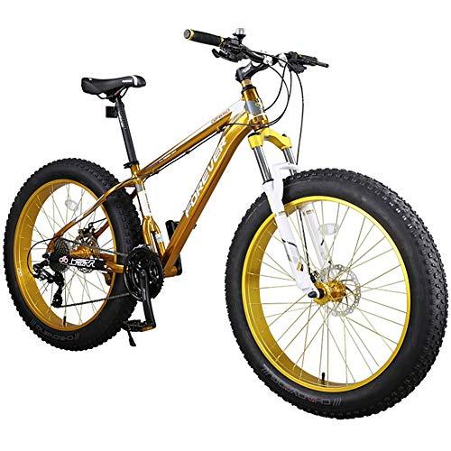 Bicicletta da 27 velocità Mountain Bike da 26 * 4,0 Pollici per Adulti per Uomo Bici da Fuoristrada con Forcella Ammortizzata/Freno a Doppio Disco Telaio in Alluminio Bicicletta da Bici MTB,d'oro