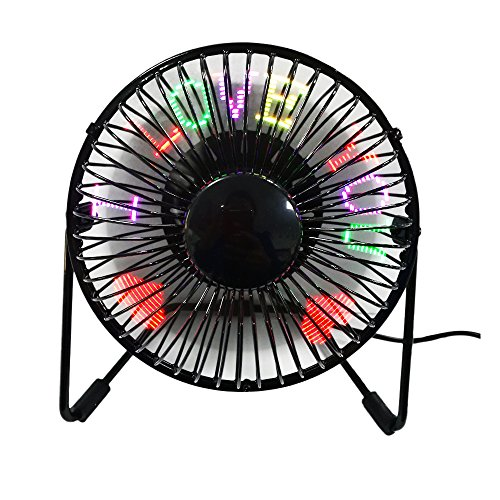 USB Programmable LED Desk Fan JUSTUP RGB Programmable Personal Table Cooling Fan 360°Rotation RGB LED Display Memory Function Durable Metal Phrame 5' for Home and Office (Programmable Fan)