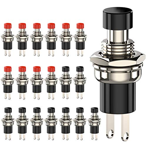 DIYhz Momentary Push Button Switch, 1A 250VAC SPST Mini Pushbutton Switches Normally Open(NO) Black & Red Cap - 20pcs