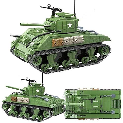 WW2 M4 Sherman Model Military Army Tank Toy Brick Building Set - Building Blocks Tank Kit