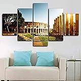 Ciudad de Roma Italia Lienzo Arte de la pared 5 Piezas Impresión de lienzo Moderno HD Modular Poster Cuadro de pintura Impreso en lienzo Utilizado para la decoración de la sala de estar 150 × 80Cm