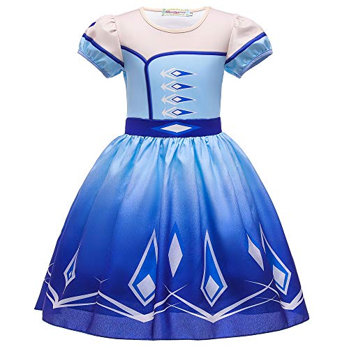 O.AMBW Vestido Corto Azul Disfraz Princesa Elsa Celebracin Aniversario Regalo Vestido Violeta Reina Anna de Manga Corta Cosplay Carnaval Disfraz de Halloween con Accesorios para nias