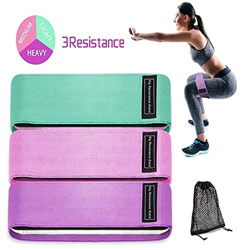 Conjunto de bandas de resistencia para mujeres, bandas de resistencia para piernas y tope, antideslizantes y rollos de entrenamiento elástico de las bandas, ideales para entrenamiento, yoga, pilates,
