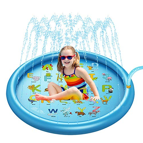 MapleMiss Sprinkler Pad Splash Play Wading Pool, Children Play Water Mat Games Beach Pad Kids Outdoor Water spray Beach Mat Lawn Inflatable Sprinkler Cushion Toys Cushion (Color : A)