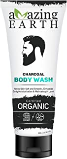 AMAzing EARTH Charcoal Body Wash for Men - Certified Organic, Deep Cleansing, Pollution Control, Oil Control, Dirt Control, Sulphate & Paraben Free, Cruelty Free & Vegan - 100ml