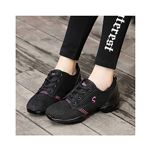 HAOLIN Zapatillas de deporte para mujer, sin cordones, para caminar, tenis, correr, trabajo, ligeras, cómodas, de malla para enfermera, zapatos antideslizantes, color negro-36